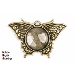 Antikolt bronz színű lepke medál (20mm) hozzátartozó üveglencsével