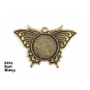 Antikolt bronz színű lepke medál (20mm)