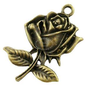 Antikolt bronz színű rózsa fityegő