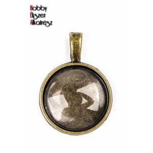 Antikolt bronz színű sima medálalap (20mm) hozzátartozó üveglencsével