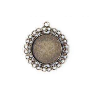 Antikolt bronz színű szíves medálalap (25mm)
