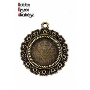 Antikolt bronz színű szíves medálalalp (20mm)