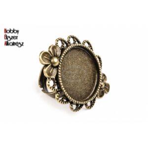 Antikolt bronz színű virágos gyűrűalap (20mm)