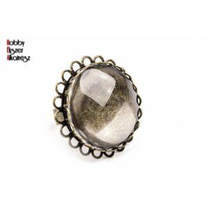 Antikolt bronz színű dupla csipkés gyűrűalap (25mm) hozzátartozó üveglencsével