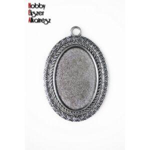 Antikolt ezüst színű csigavonalas medálalap (20x30mm)