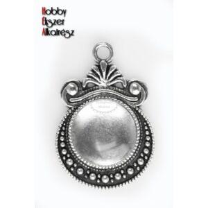 Antikolt ezüst színű díszes medálalap (12mm) hozzátartozó üveglencsével