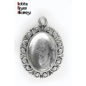 Antikolt ezüst színű díszes medálalap (13x18mm) hozzátartozó üveglencsével