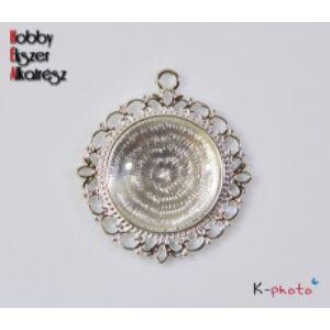 Antikolt ezüst színű díszes medálalap (25mm) hozzátartozó üveglencsével