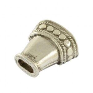 Antikolt ezüst színű lapított gyöngykupak/végzáró
