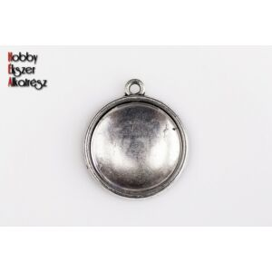 Antikolt ezüst színű dupla oldalú medálalap (20mm) hozzátartozó üveglencsével