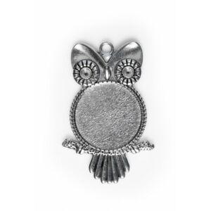 Antikolt ezüst színű bagoly medál (20mm)