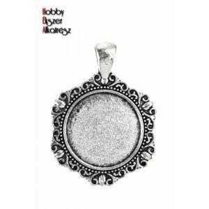 Antikolt ezüst színű díszes medálalap (20mm)