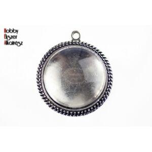 Antikolt ezüst színű pöttyös medálalap (25mm) hozzátartozó üveglencsével