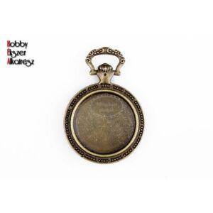 Antikolt bronz óra alakú medálalap (20mm)