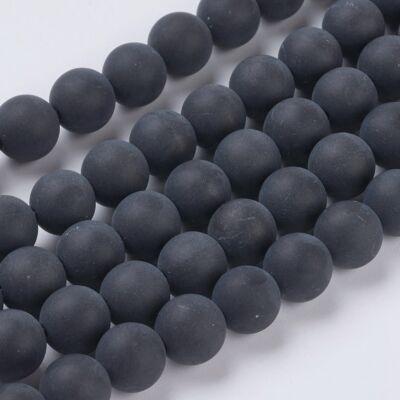 Matt Black Agate ásványgyöngy (8mm)/10db