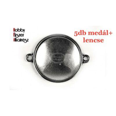 5db Antikolt ezüst színű sima kapcsolóelem (18mm) hozzátartozó üveglencsékkel