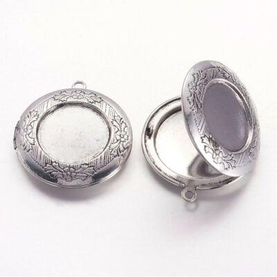Antikolt ezüst színű kinyitható medál (20mm)