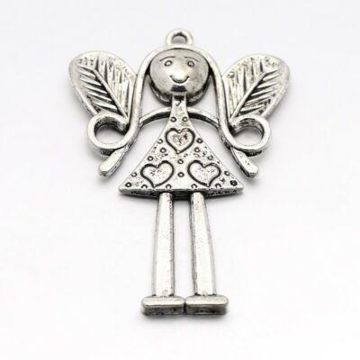 Antikolt ezüst színű angyal medál (kisebb)