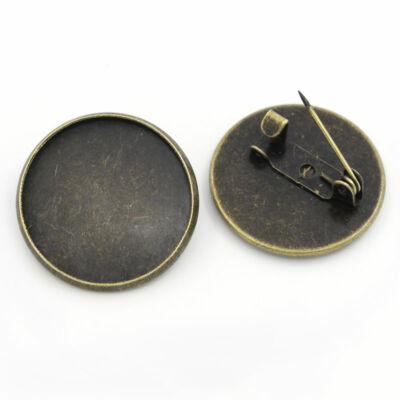 Antikolt bronz színű sima kitűzőalap (20mm)