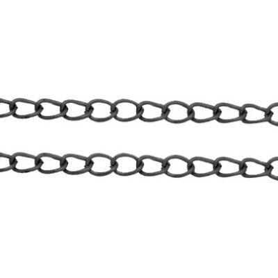 Fekete színű csavart lánc (6x4mm)