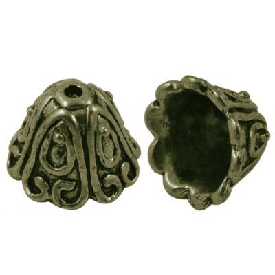 Antikolt bronz színű kupola alakú gyöngykupak