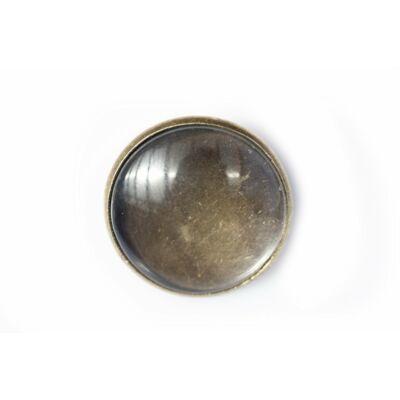 Antikolt bronz színű sima kitűzőalap (20mm) hozzátartozó üveglencsével