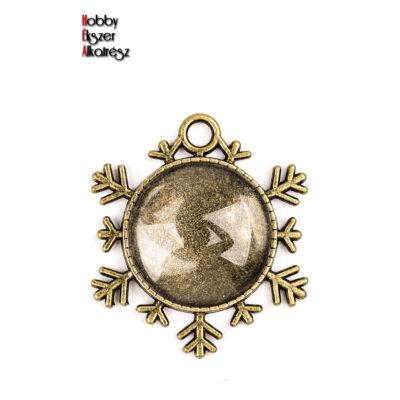 Antikolt bronz színű hópihe alakú medál (25mm) hozzátartozó üveglencsével