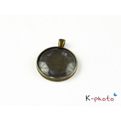 Antikolt bronz színű sima medálalap (30mm) hozzátartozó üveglencsével