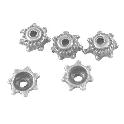 10db pöttyös szélű antikolt ezüst kicsi gyöngykupak
