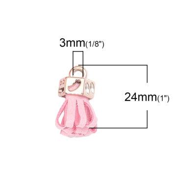 Rózsaszínű bársonybőr bojt (25x11mm)