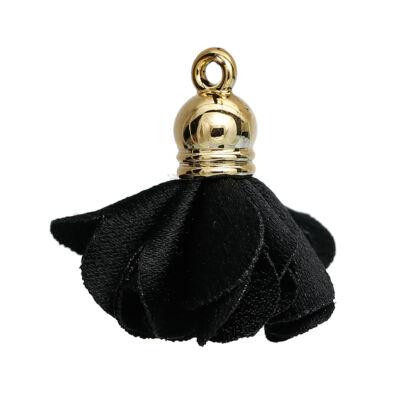 Fekete virág alakú bojt (25x27mm)