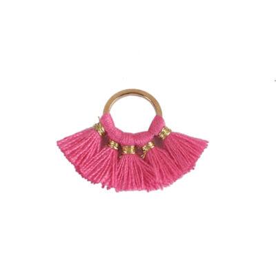 Pink színű pamutbojtokkal díszített karika (25x27mm)
