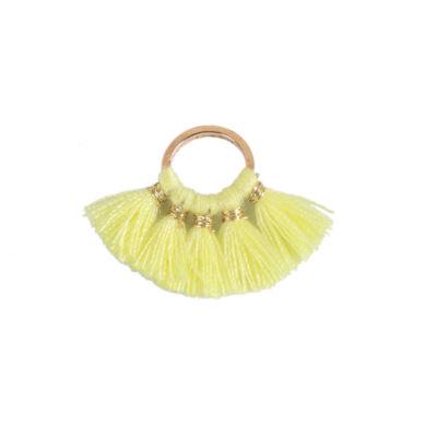 Sárga színű pamutbojtokkal díszített karika (25x27mm)