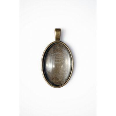 Antikolt bronz színű sima medálalap (20x30mm) hozzátartozó üveglencsével