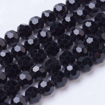 10db Fekete színű csiszolt üveggyöngy (8mm)