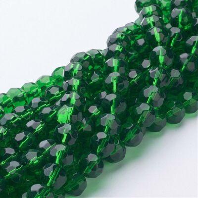 10db Zöld színű csiszolt üveggyöngy (8mm)