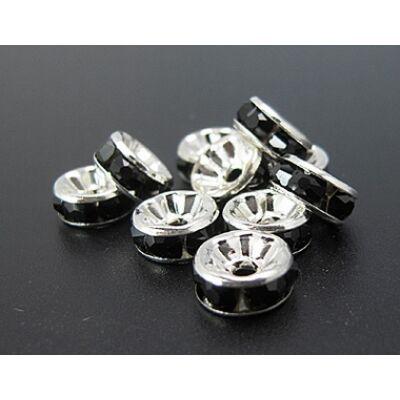 10db ezüst színű fekete strasszos köztes (8x4mm)