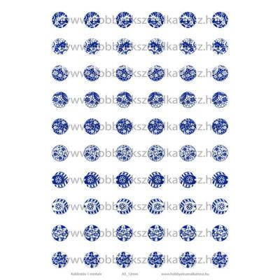 Kékfestős-1 Üveglencsés ékszerpapír 12mm 10 féle minta A5