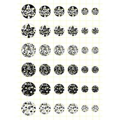 Fekete-fehér-4 Üveglencsés ékszerpapír több méret A5