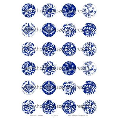 Kékfestős-1 Üveglencsés ékszerpapír 25mm 12 féle minta A5