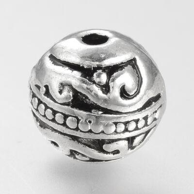 Antikolt ezüst színű golyó alakú csigavonalas gyöngy (8mm)