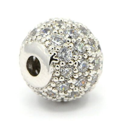 Strasszal díszített ezüst színű cirkónia gyöngy (8x7mm)