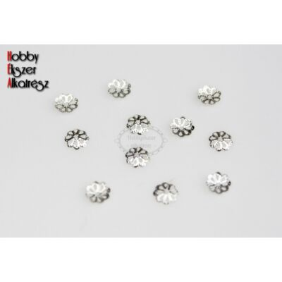 10db Ezüst színű lapos gyöngykupak (7mm)
