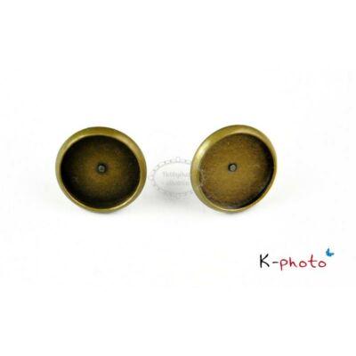 Antikolt bronz színű bedugós fülbevalóalap (12mm)