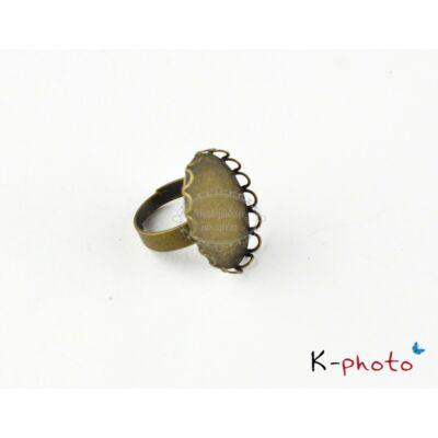 Antikolt bronz színű csipkés gyűrűalap (18x25mm)