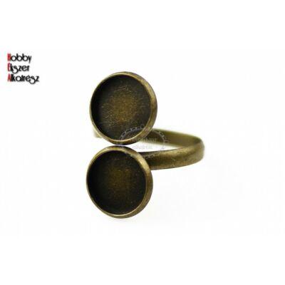 Antikolt bronz színű dupla tányéros gyűrűalap