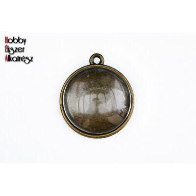 Antikolt bronz színű kétoldalú medál (20mm) hozzátartozó üveglencsékkel