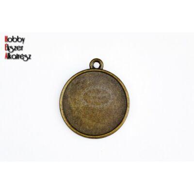 Antikolt bronz színű kétoldalú medál (20mm)