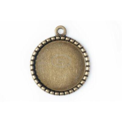 Antikolt bronz színű fogazott medálalap (25mm)