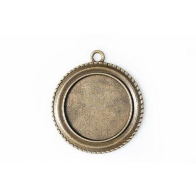 Antikolt bronz színű fonott szélű medálalap (25mm)